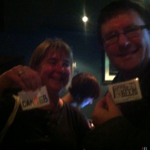 Rachel & Simon flash their membership cards.