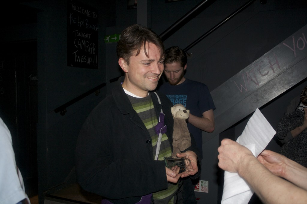 Nik & The Kernel MOnkey accept The Kernel's CAMRGB Beer Of The Year Award.