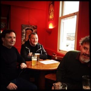 Paolo, Darren & Jake drinking Jake's beer.